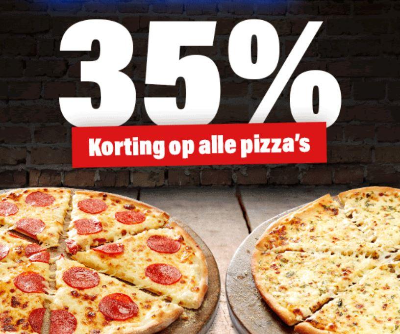 Met code 35% korting op pizza's @ Domino's
