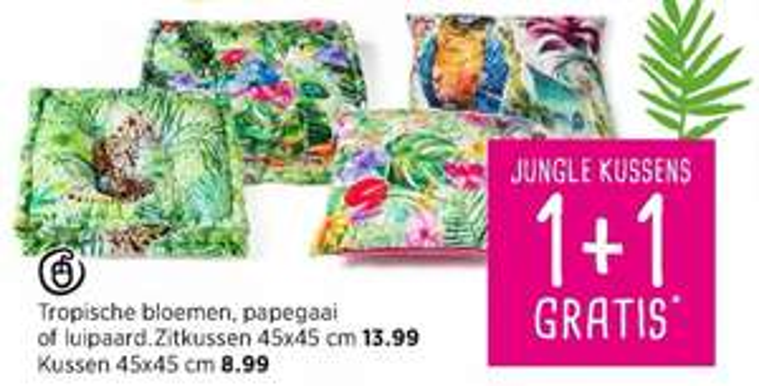 Jungle kussens 1+1 gratis bij Xenos