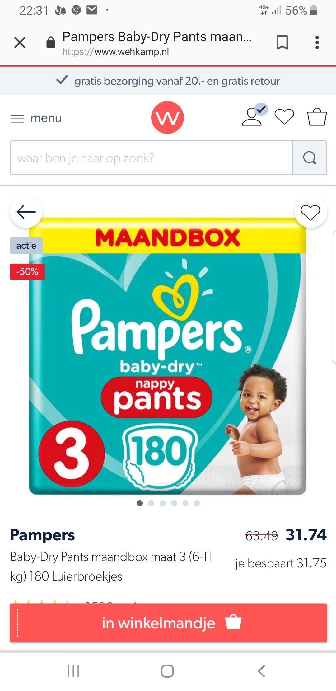 Pampers pants maandbox maar 3 t/m 7 50 %korting