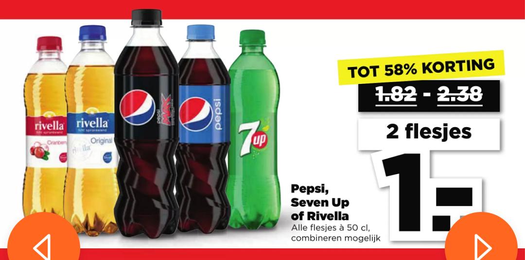 2 flesjes Rivella, Pepsi of 7up voor €1 @Plus