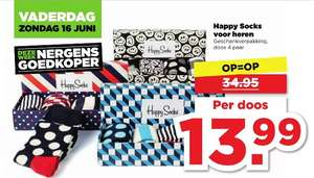 Happy Socks voor heren €13,99 @Plus