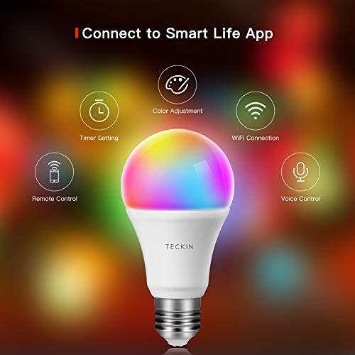 Teckin Smart WiFi-ledlamp, E27, RGB, veelkleurig, 800 lm, dimbaar, afstandsbediening en Google Home, pak van 4 stuks [Energieklasse A+]