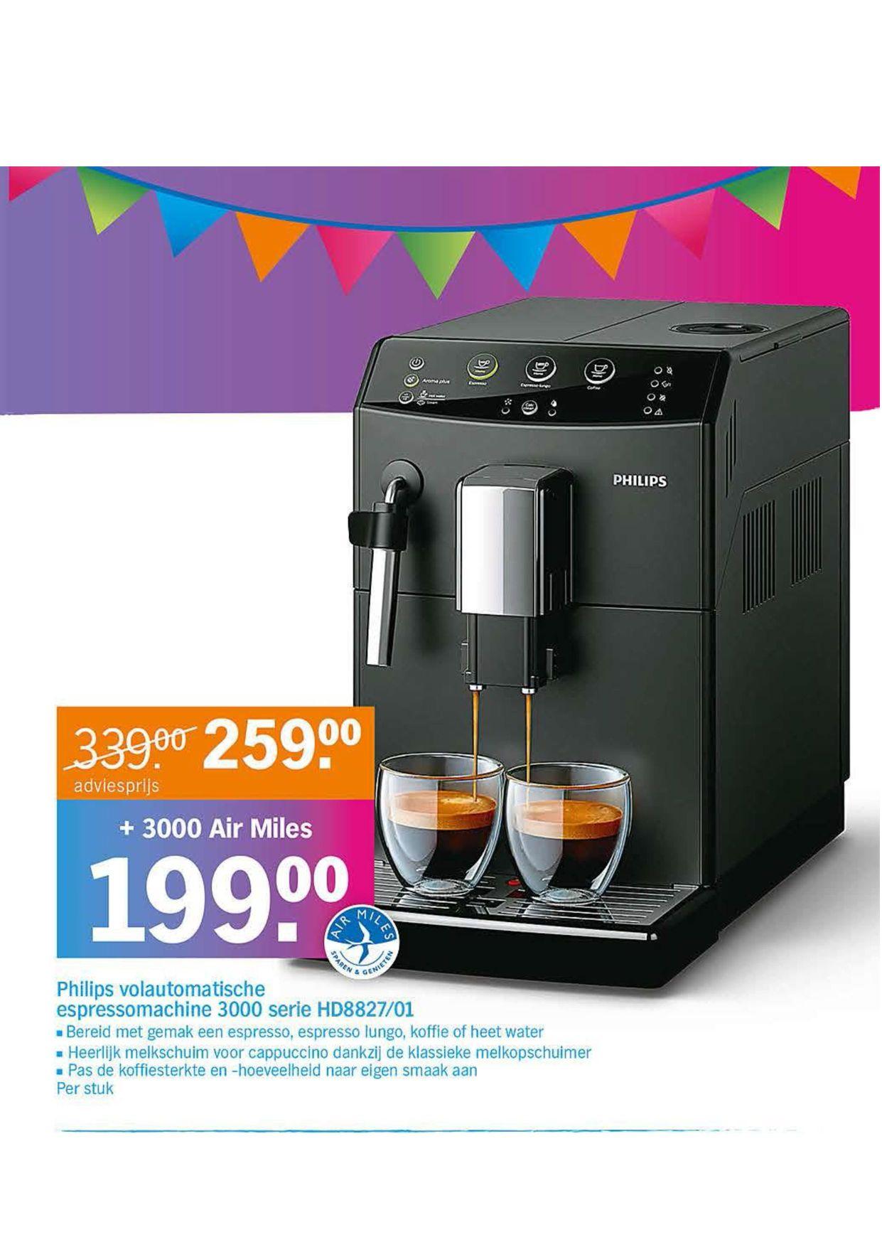 [Airmiles] Philips volautomatische espressomachine 3000 serie HD8827/01