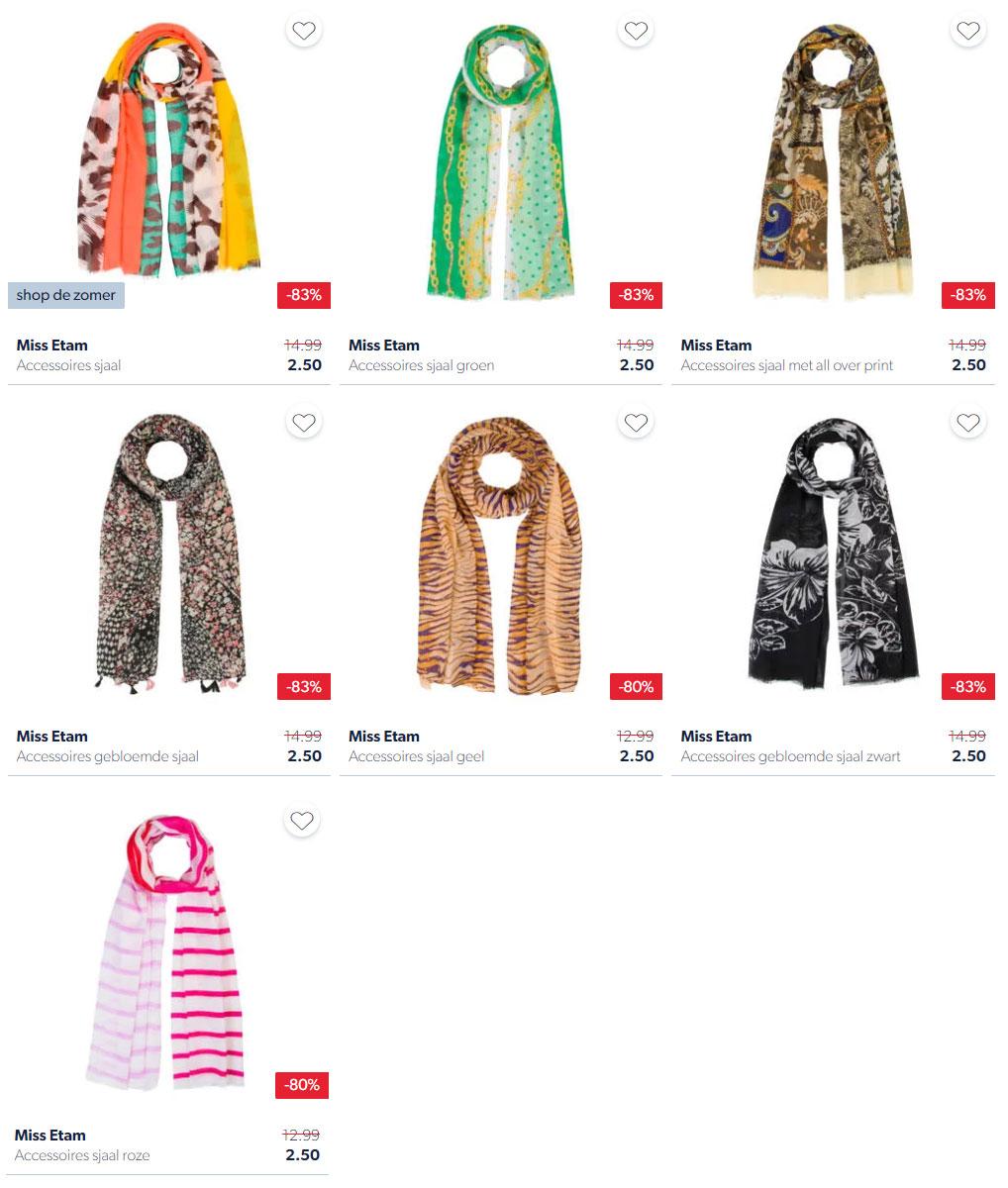 Miss Etam sjaals (7 soorten) 80-83% korting @ Wehkamp