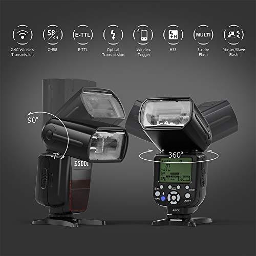 ESDDI Canon flitser, 1/8000 HSS Wireless Flash Speedlite GN58 2.4G Funk Master Slave voor Canon