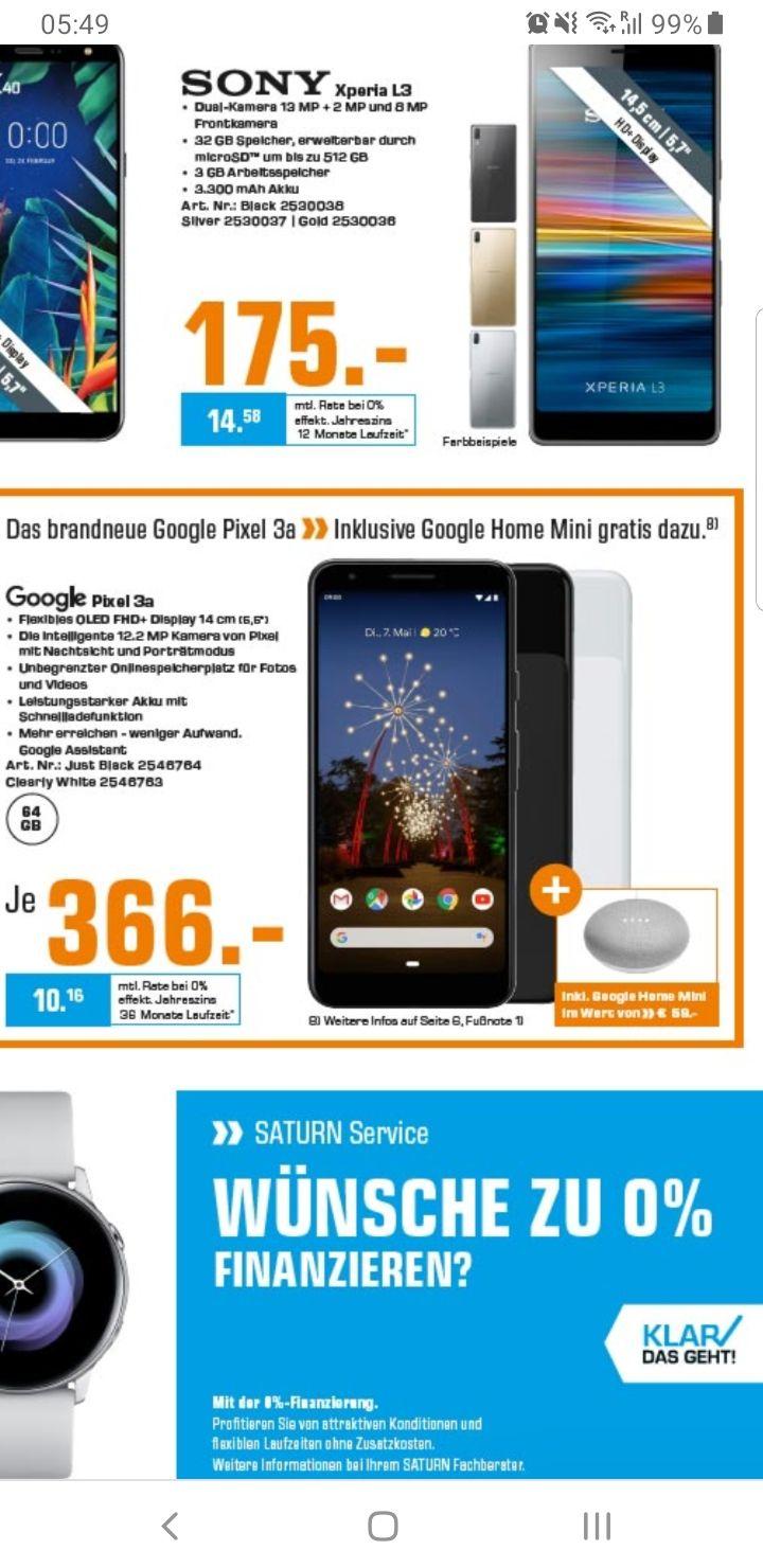 Google pixel 3a incl gratis Google home mini... Grensdeal Saturn Duitsland