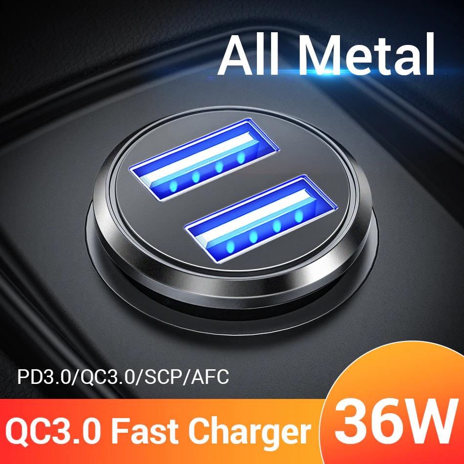 FIVI 36W Metalen dual USB snellader QC 3.0 Auto oplader.i