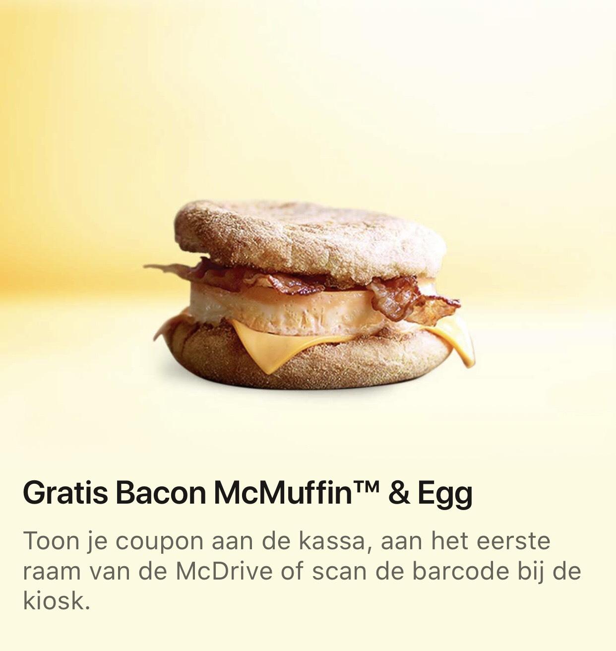 (Grensdeal BE) Gratis Bacon McMuffin & Egg @ McDonald's