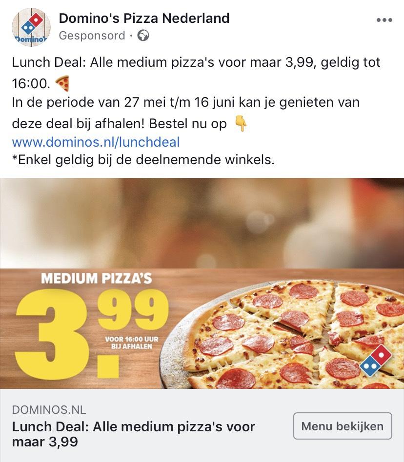 Dominos pizza medium €3.99 tot 16:00
