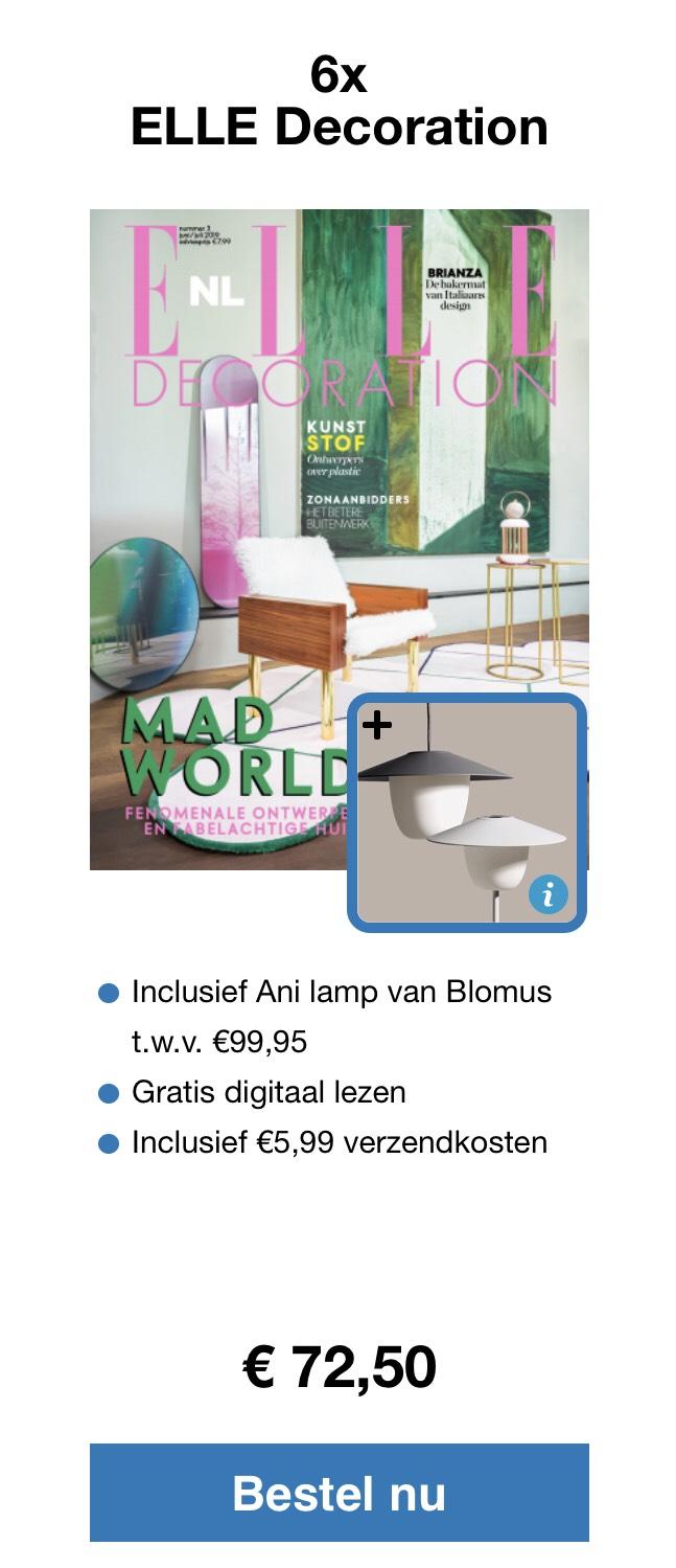 6x blad Elle Decorations met Blomus lamp twv €99,95 als welkomsgeschenk