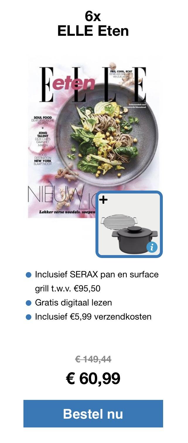 6 x blad Elle eten met Serax pan en grill twv €95,50