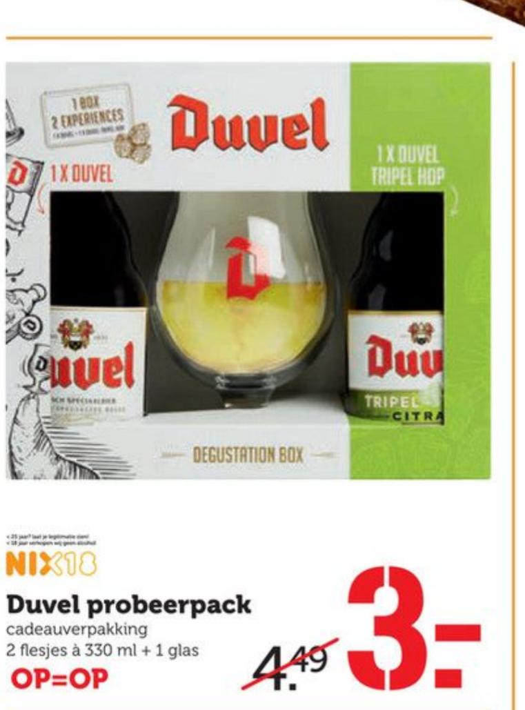 2 flesjes Duvel en glas voor €3 bij Coop