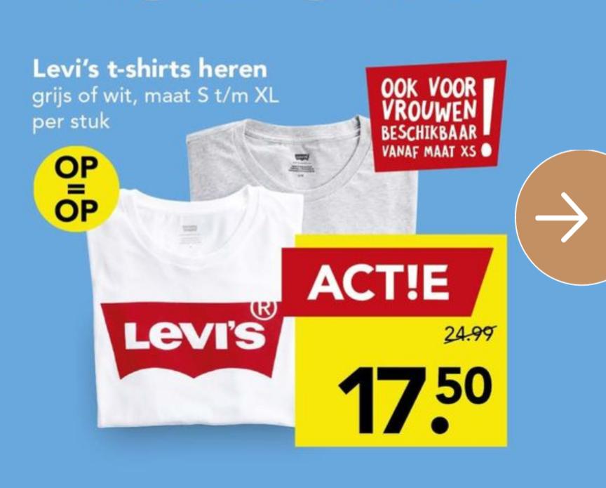 Levi's T-shirts (Heren & dames) voor €17,50 bij Deen
