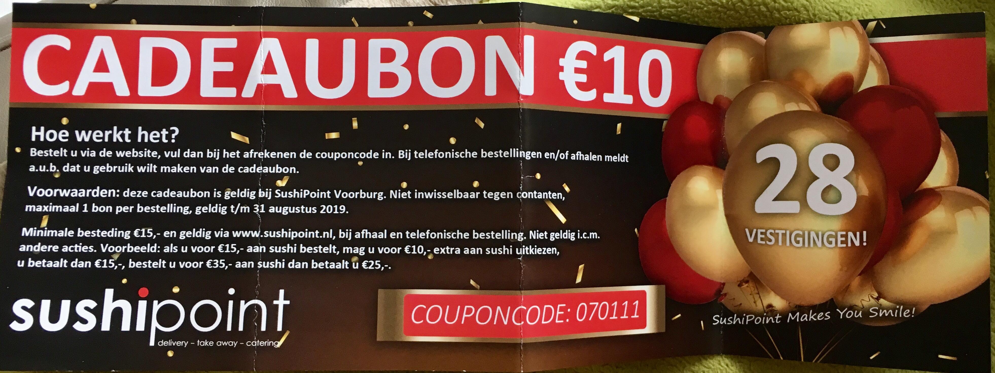 Sushipoint €10,- korting locatie Voorburg