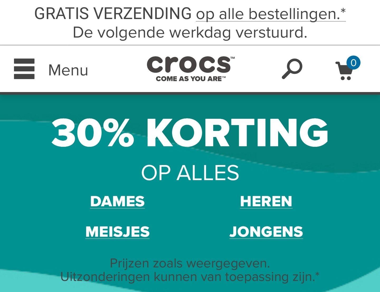 Crocs Alles 30% Korting + gratis verzenden