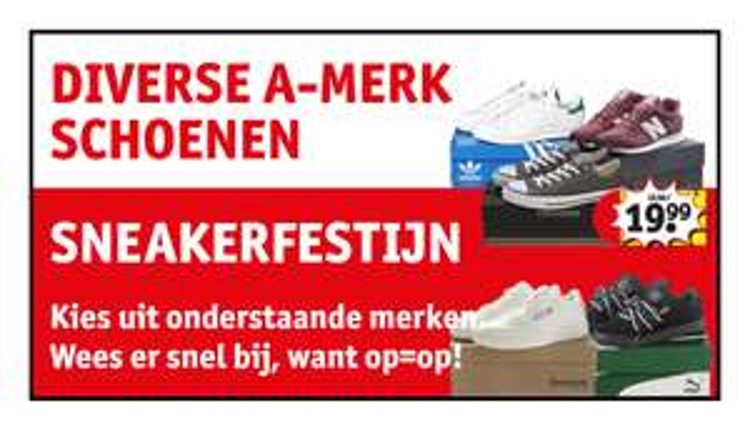 Kruidvat sneakerfestijn (met extra 20% korting) Converse, Puma, Adidas & Reebok