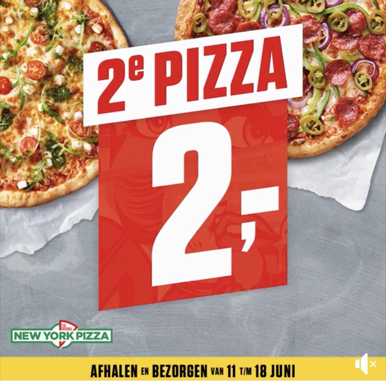 2e Pizza €2,- Bij bezorgen & Afhalen @ New York Pizza