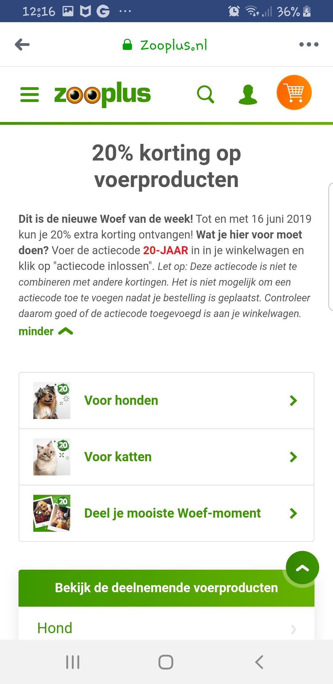 20% korting op veel producten @Zooplus