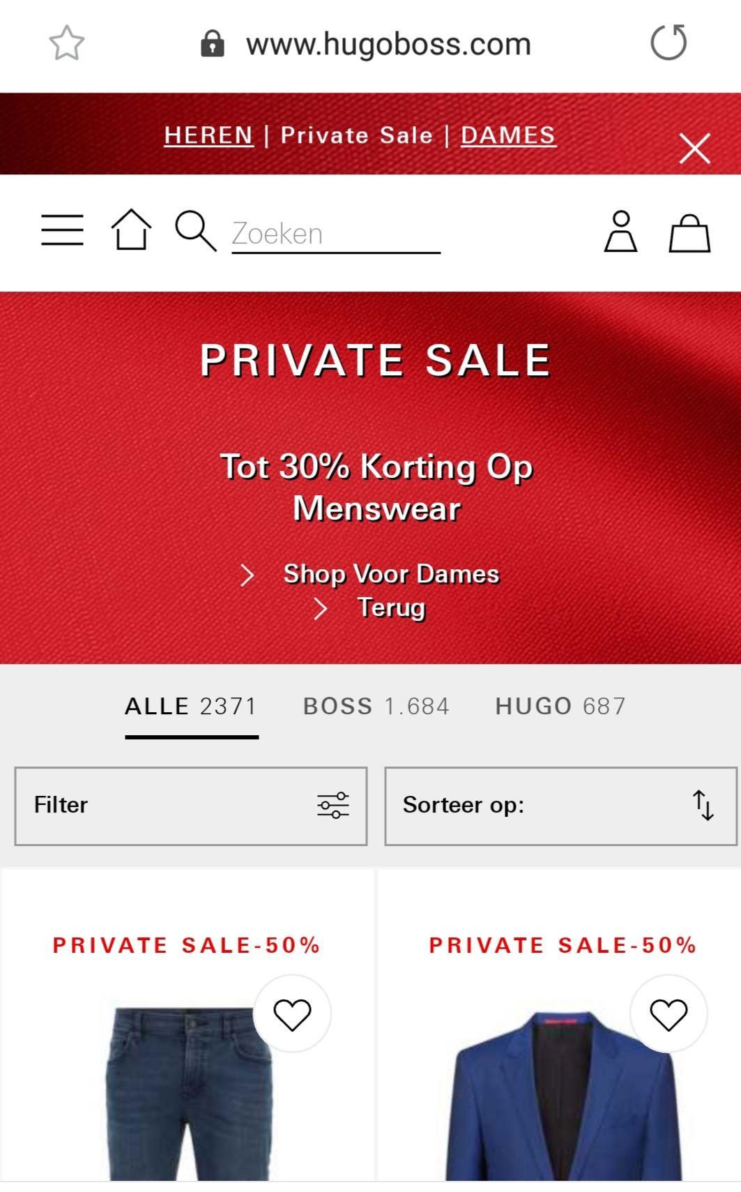 Hugo Boss private sale