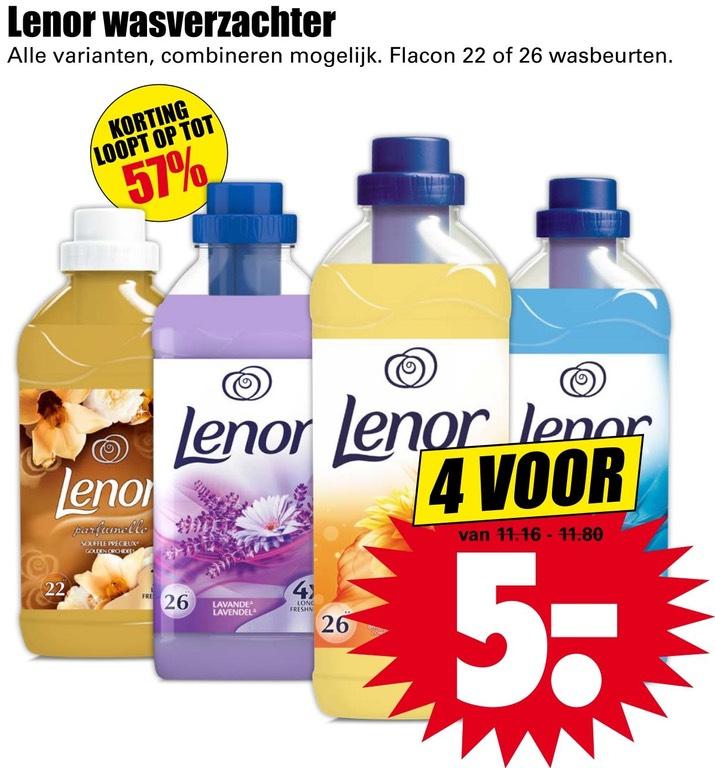 Lenor wasverzachter 4 voor 5 euro @Dirk