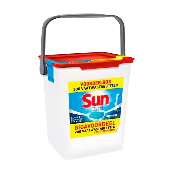 Sun all-in-1 Vaatwastabletten 200 stuks met Curverbox, elders va €32.00