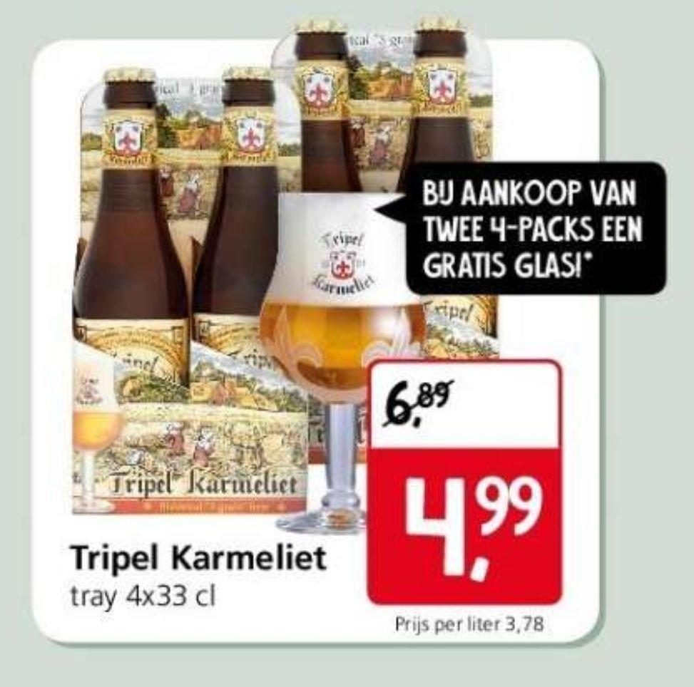 Tripel karmeliet 2x4 pack + gratis glas. €1,25 per flesje.