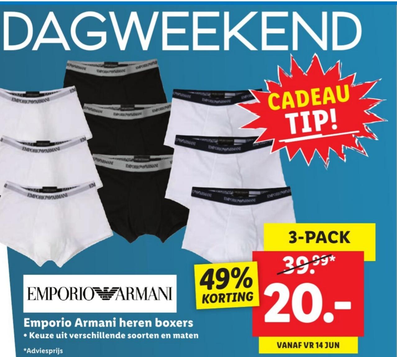 Emporio Armani boxers 3pack 20 euro @ Lidl