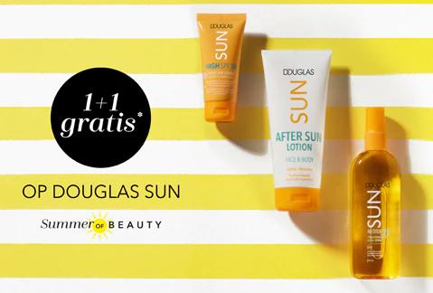 1+1 gratis op Douglas sun producten