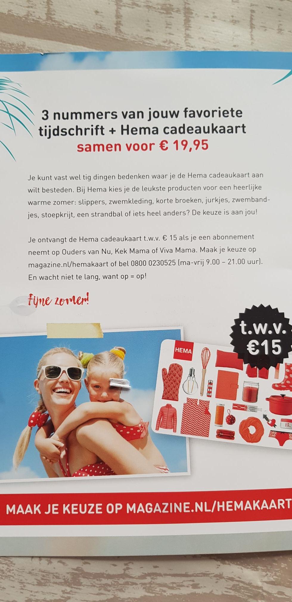 3 nummers 'mama bladen' en een Hema cadeaukaart van 15 euro