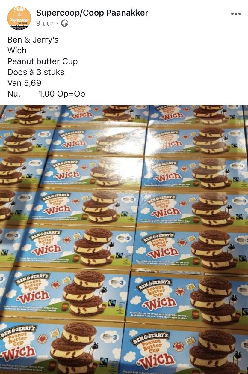 [Den Bosch] Ben en jerry peanut butter cups per doos voor maar 1 euro!