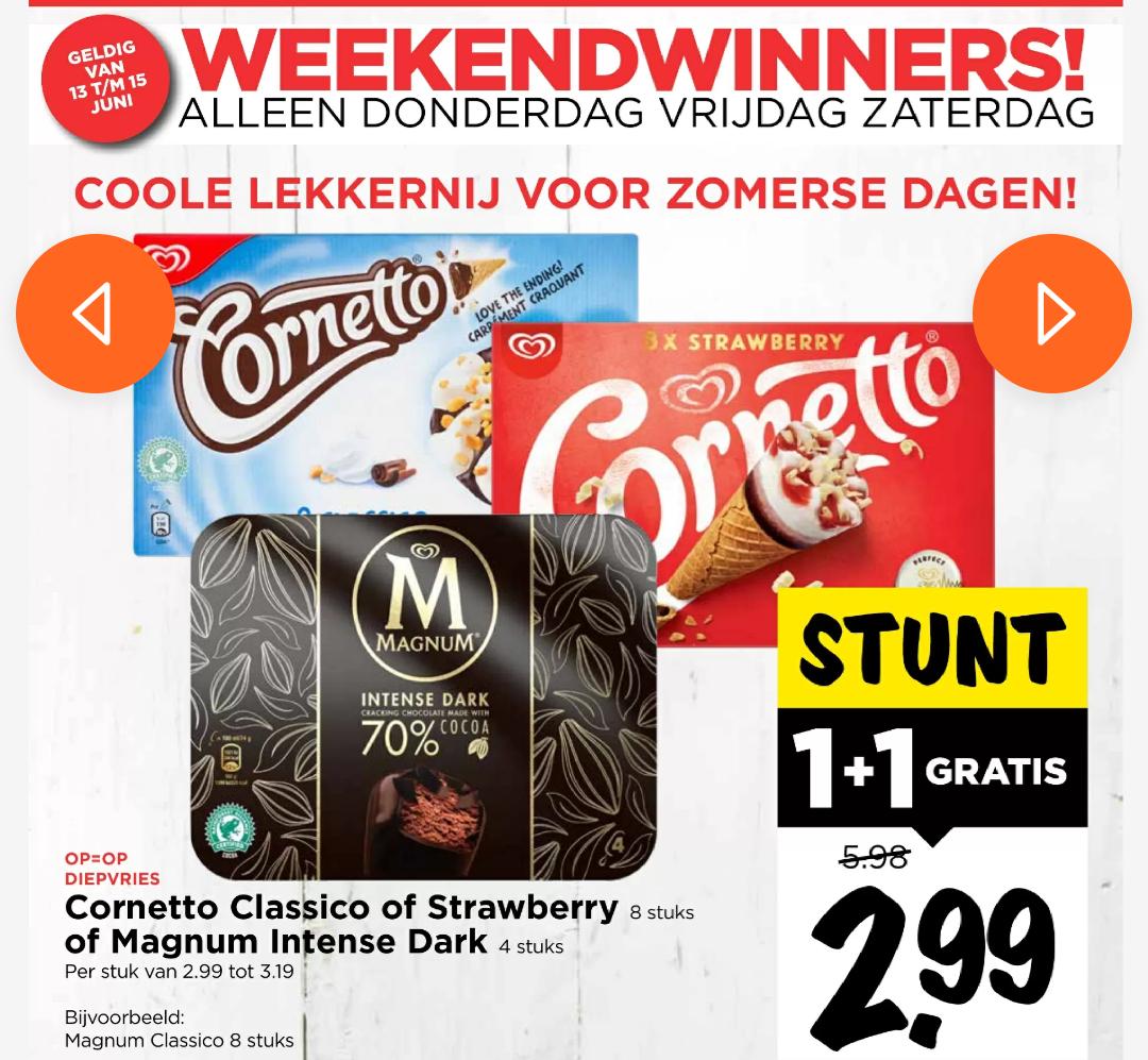 Cornetto & Magnum intense dark 1+1 gratis bij Vomar