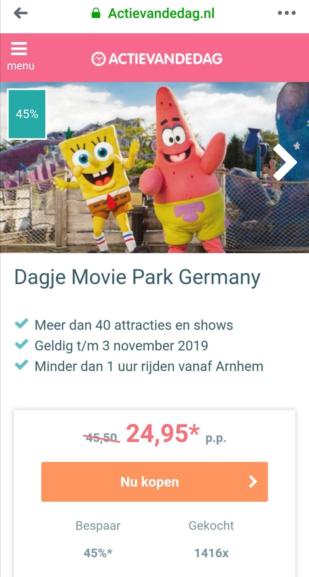 Flinke korting Moviepark Germany @actievandedag