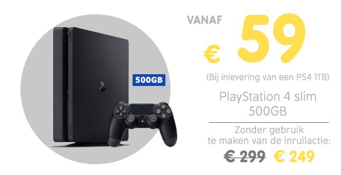 PS4 Slim 500GB voor €59 bij inleveren oude PS4 1TB of €79 bij inleveren PS4 500 GB @ Gamemania