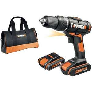 Worx accuschroefklopboormachine WX371.3 20V incl opbergzak  47% korting @ Praxis