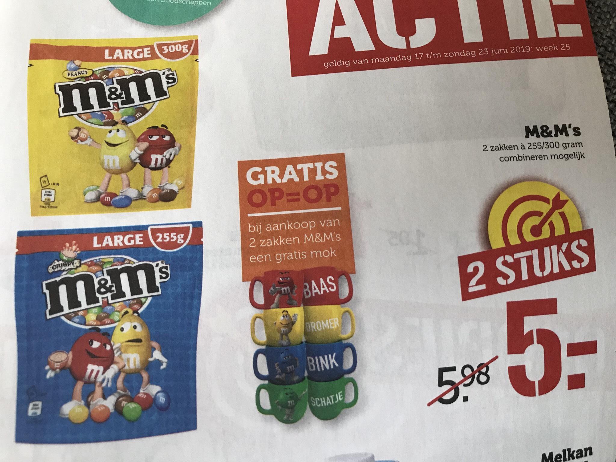 2 zakken M&M met gratis mok bij de Coop