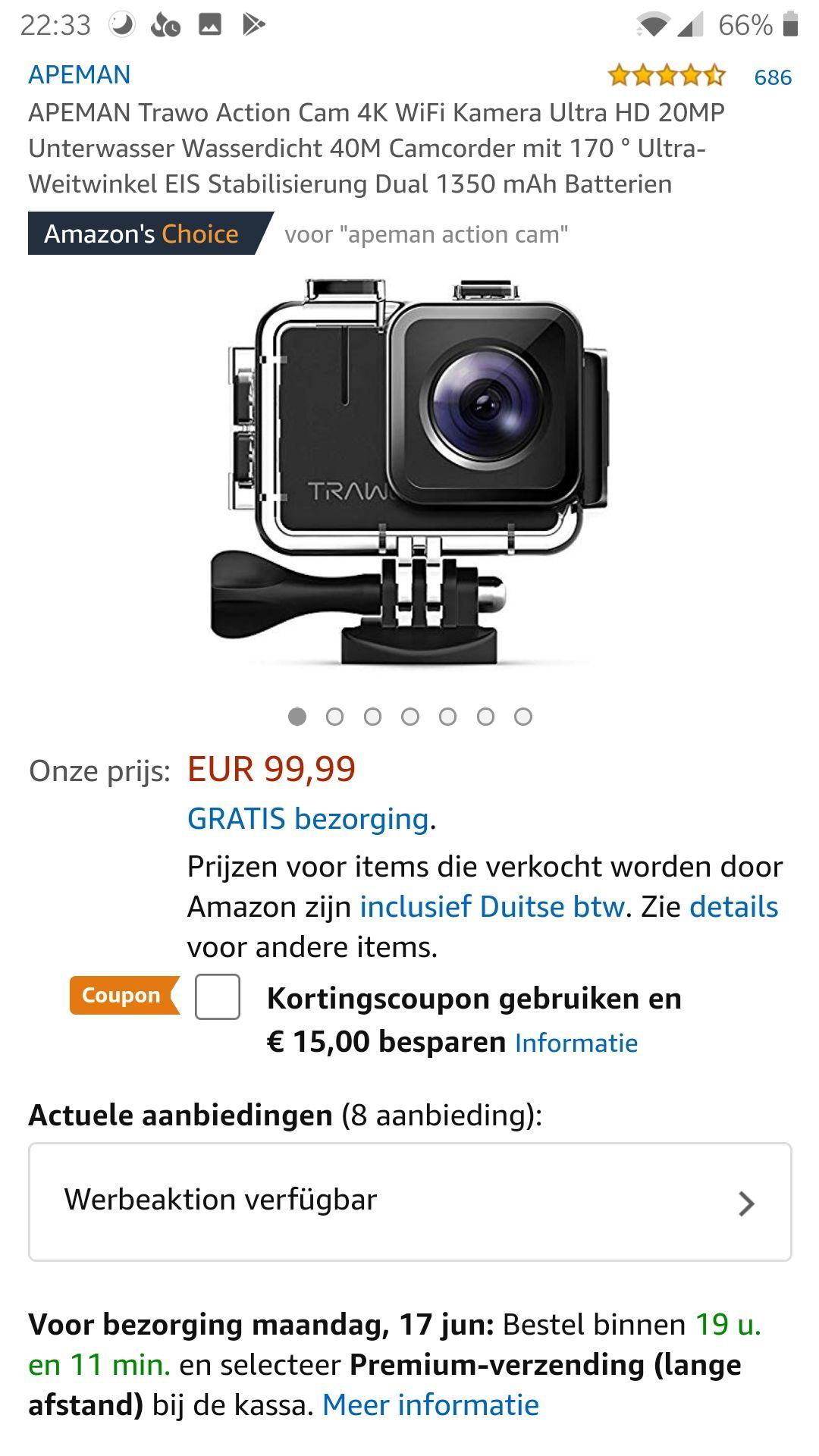 Amazon: APEMAN Trawo Actioncam 4k ultra HD ##door toepassing van coupon kost hij € 85 ipv 99