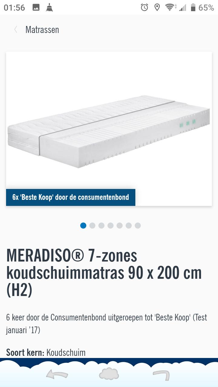 MERADISO matras H2 (meerdere keren best getest) 50% korting. Nu €50