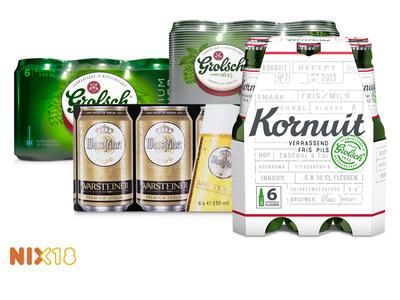 Grolsch, Kornuit, Amstel of Warsteiner 6-pack 1 + 1 gratis @Hoogvliet