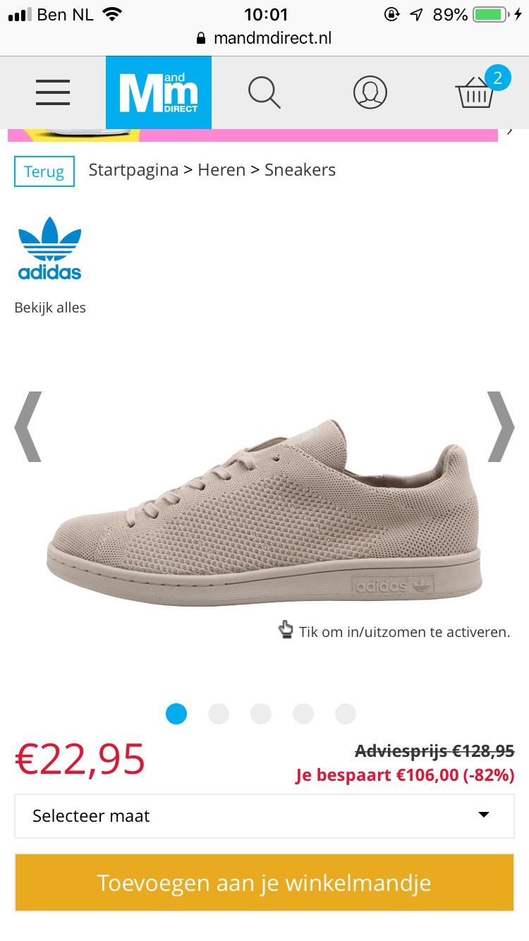 Adidas Stan Smith van 128,95 voor 22,95