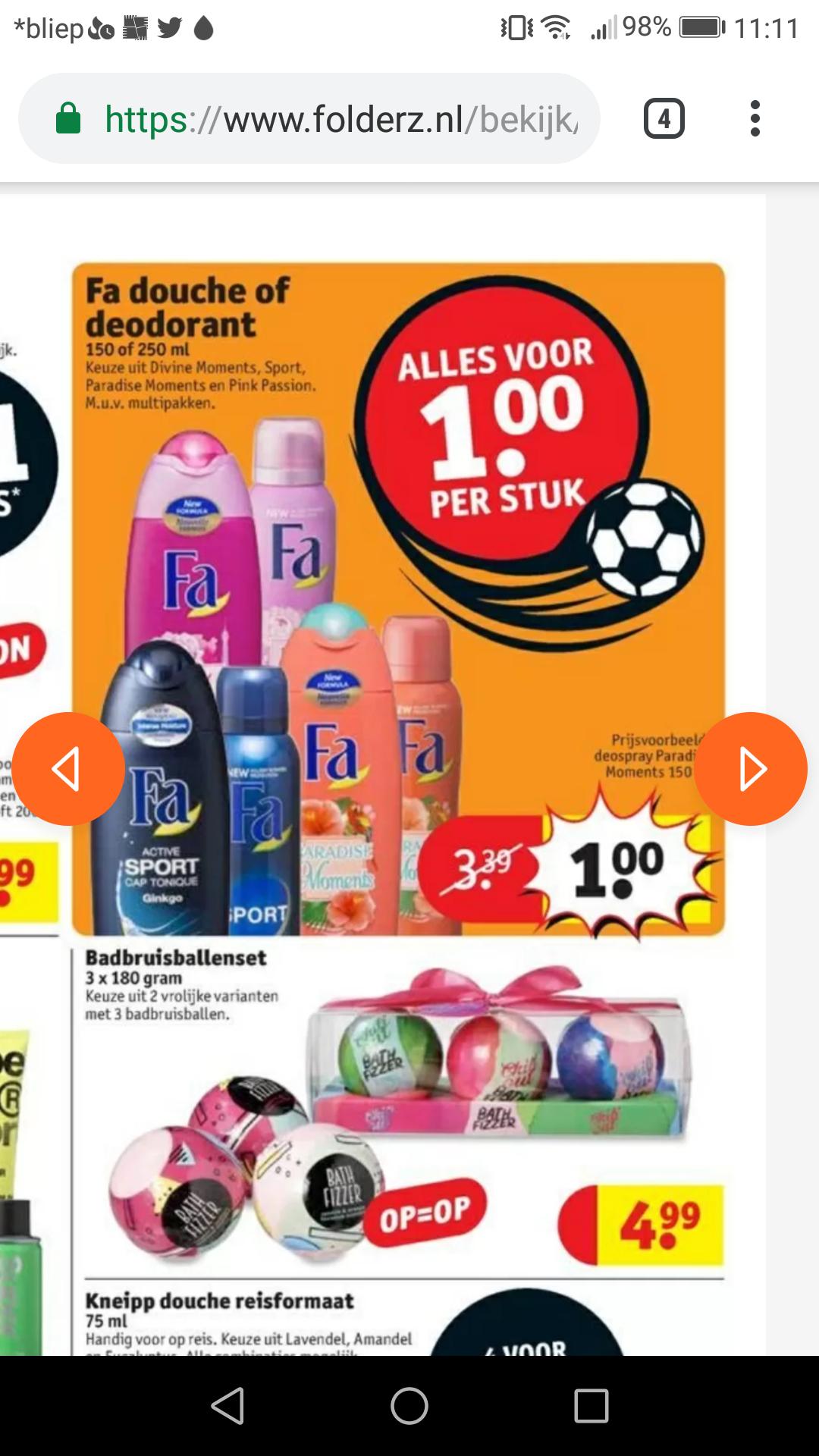Fa deodorant en douche voor €1 bij Kruidvat