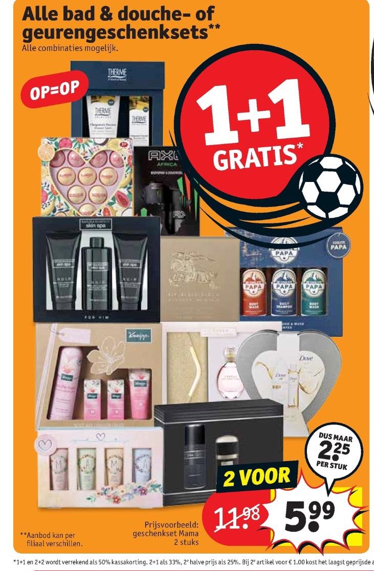 Geschenksets 1+1 gratis bij Kruidvat en Trekpleister