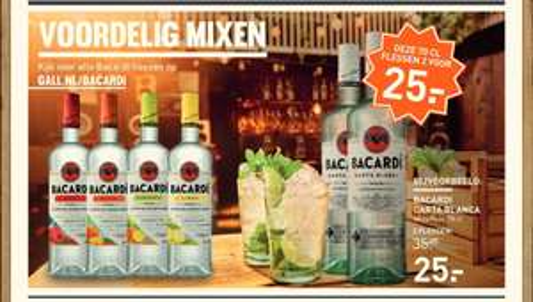 2 flessen Bacardi (0,7L) voor €25 bij Gall & Gall