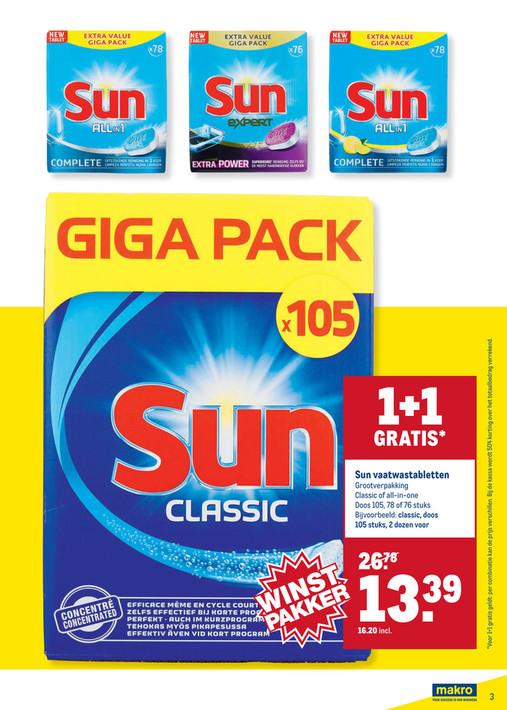 Sun Classic Vaatwastabletten (7,7 cent per stuk)