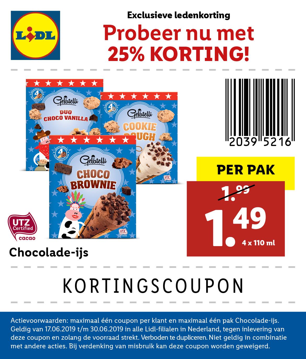 Lidl: kortingscoupon chocoladehoorntjes (25%)
