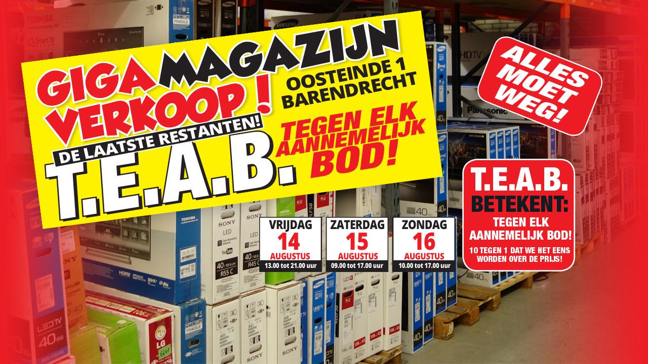 GIGA magazijnverkoop op 14, 15 en 16 augustus @  Barendrecht