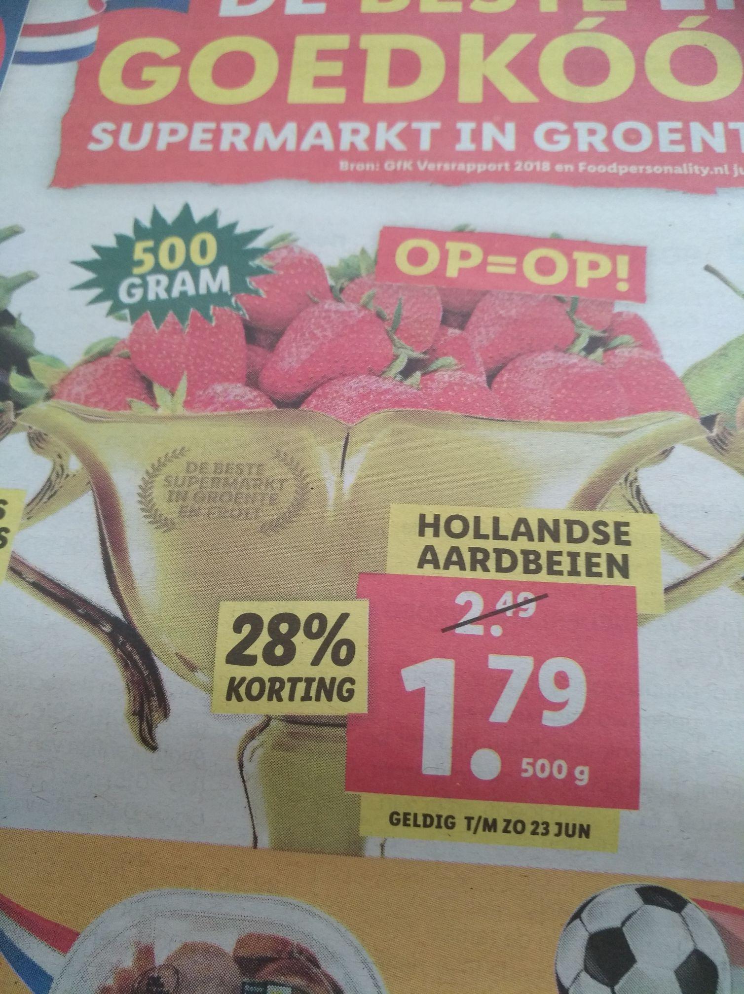 500 gram aardbeien voor €1,79 bij Lidl en €1,89 bij AH