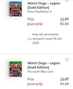 (Bookspot premium) Watch dogs legion gold edition €83.69