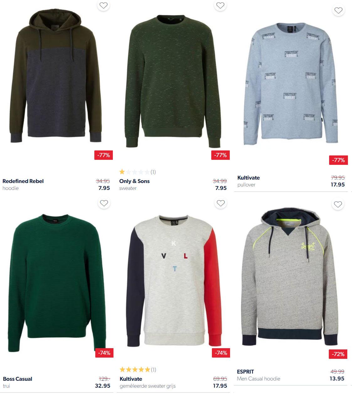 Heren merk truien / sweaters / hoodies tot -78% korting @ Wehkamp
