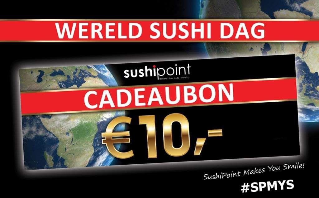 Landelijk 10 euro korting bij Sushipoint v.a. 25 euro