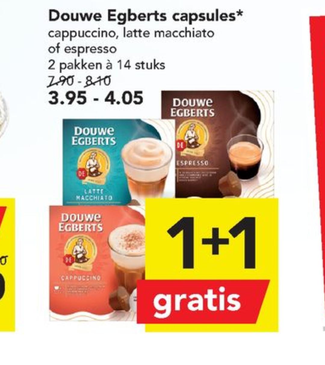 Douwe Egberts Dolce Gusto capsules 1+1 gratis bij Deen